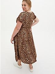 Leopard Stretch Challis Skater Midi Dress, LEOPARD, alternate
