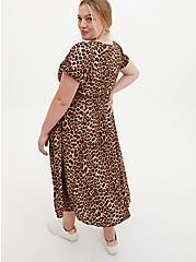 Leopard Stretch Challis Midi Skater Dress, LEOPARD, alternate