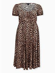 Leopard Stretch Challis Midi Skater Dress, LEOPARD, hi-res