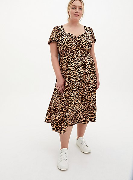 Leopard Stretch Challis Skater Midi Dress, LEOPARD, hi-res
