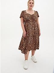 Leopard Stretch Challis Skater Midi Dress, LEOPARD, hi-res