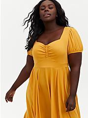 Mustard Yellow Stretch Challis Midi Skater Dress, GOLD, alternate