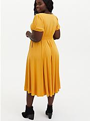 Golden Yellow Stretch Challis Skater Midi Dress, GOLD, alternate