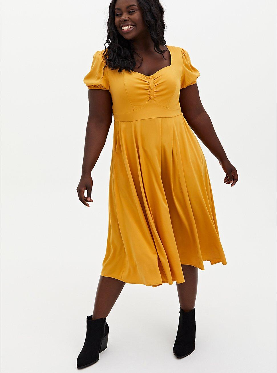 Mustard Yellow Stretch Challis Midi Skater Dress, GOLD, hi-res