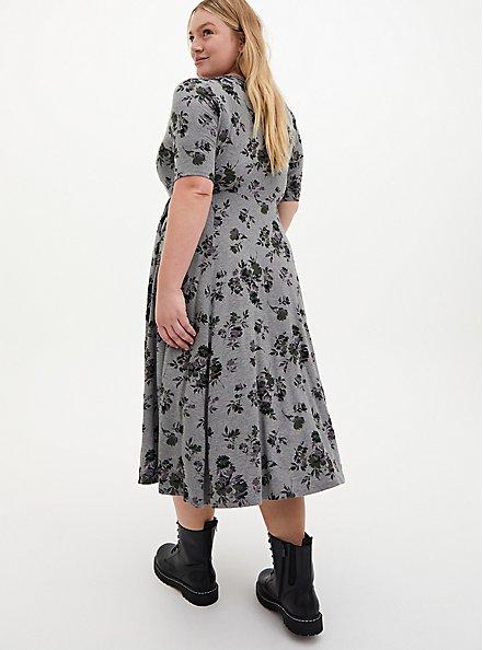 Super Soft Heather Grey Floral Midi Skater Dress, FLORAL - GREY, alternate
