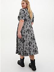 Super Soft Heather Grey Floral Midi Skater Dress, FLORAL - GREY, alternate
