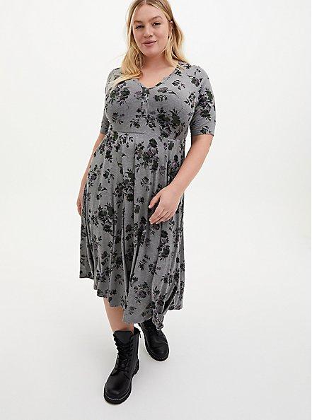Super Soft Heather Grey Floral Midi Skater Dress, FLORAL - GREY, hi-res
