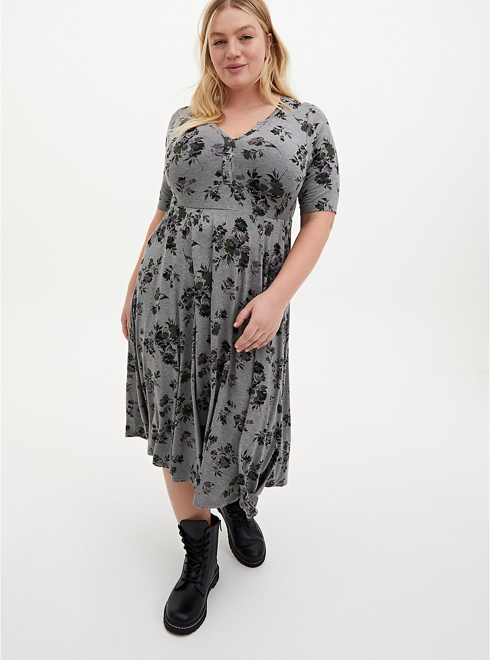 Super Soft Heather Grey Floral Midi Skater Dress, FLORAL - GREY, hi-res