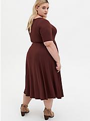 Super Soft Rust Brown Midi Skater Dress, DEEP MAHOGANY, alternate