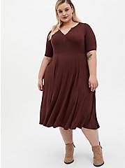 Super Soft Rust Brown Midi Skater Dress, DEEP MAHOGANY, hi-res