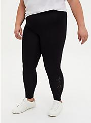 Premium Legging - Geometric Laser Cutout Black, BLACK, alternate