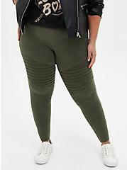 Premium Legging - Washed Moto Olive Green, GREEN, alternate