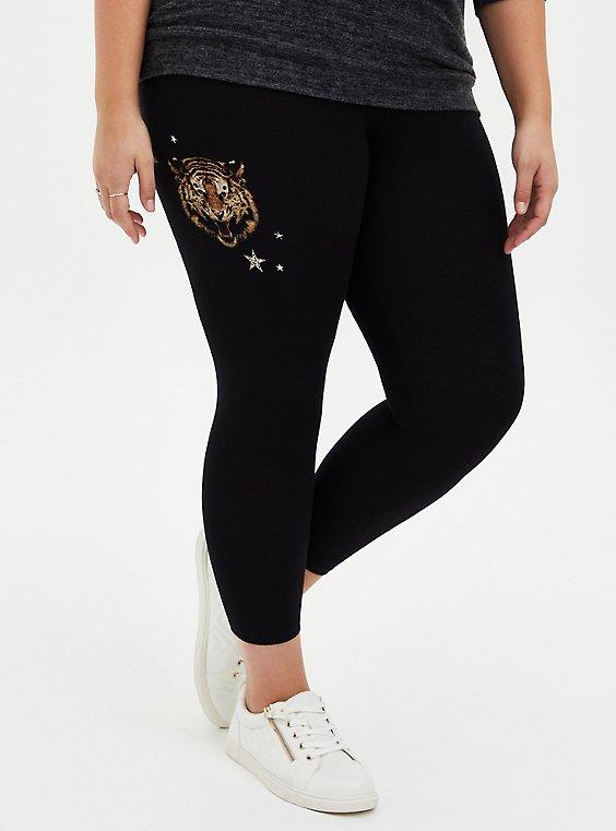 Crop Premium Legging - Tigers & Stars Black , MULTI, hi-res