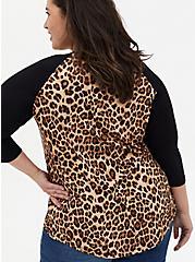 Slim Fit Raglan Tee - Super Soft Leopard Black , LEOPARD, alternate