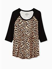 Slim Fit Raglan Tee - Super Soft Leopard Black , LEOPARD, hi-res
