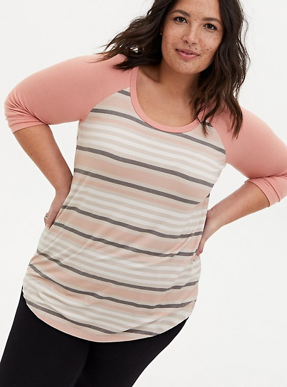 Slim Fit Raglan Tee - Super Soft Stripe Coral , MULTI, hi-res