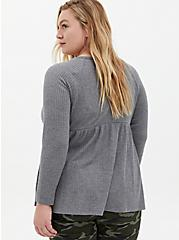 Heather Grey Waffle-Knit Long Sleeve Babydoll Tee, HEATHER GREY, alternate