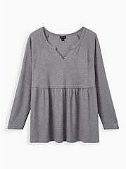 Heather Grey Waffle-Knit Long Sleeve Babydoll Tee, HEATHER GREY, hi-res