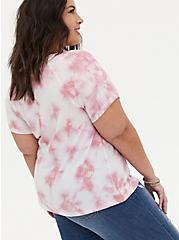 Crew Tee - Waffle-Knit Tie-Dye Blush Pink , PINK, alternate