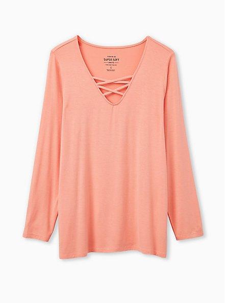 Super Soft Peach Pink Grey Long Sleeve Lattice Tee, PINK, hi-res