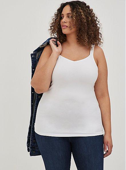 White Wide Strap V-Neck Foxy Cami, BRIGHT WHITE, alternate