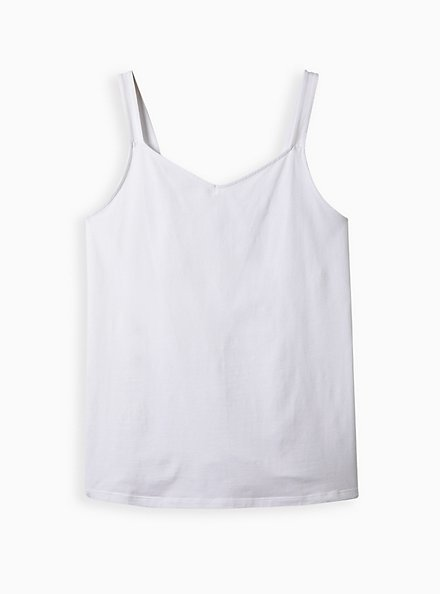 White Wide Strap V-Neck Foxy Cami, BRIGHT WHITE, hi-res