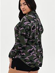 Drop Shoulder Button-Front Top - Camo, CAMO-GREEN, alternate