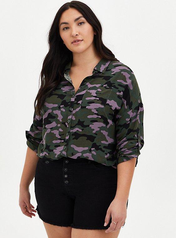Camo Linen Drop Shoulder Shirt , CAMO-GREEN, hi-res