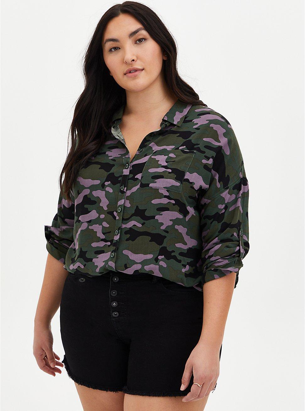 Drop Shoulder Button-Front Top - Camo, CAMO-GREEN, hi-res
