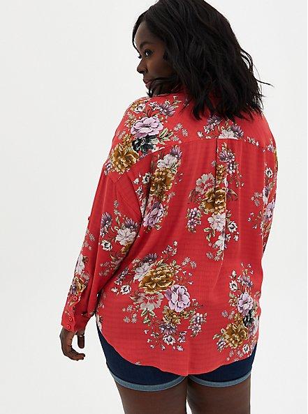 Drop Shoulder Button-Front Top - Floral Cranberry Red, FLORAL - PINK, alternate