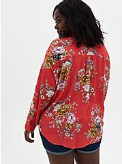 Cranberry Red Floral Drop Shoulder Shirt , FLORAL - PINK, alternate