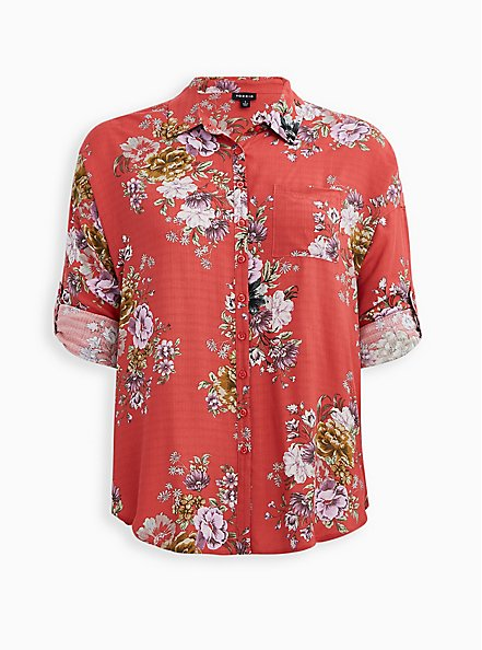 Drop Shoulder Button-Front Top - Floral Cranberry Red, FLORAL - PINK, hi-res