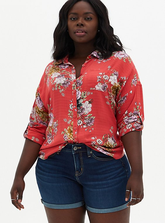 Cranberry Red Floral Drop Shoulder Shirt , FLORAL - PINK, hi-res