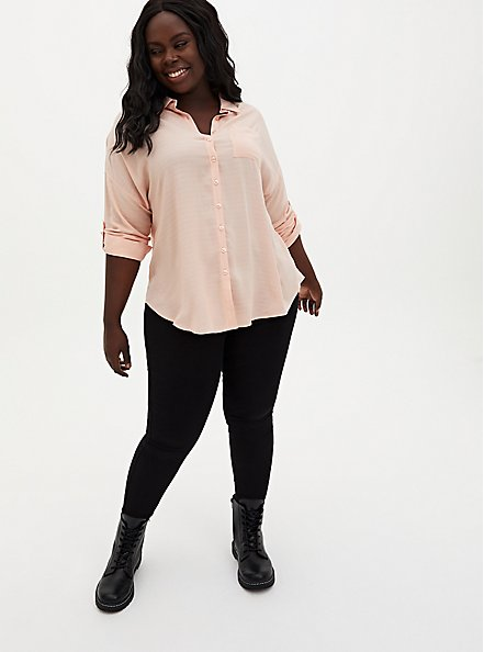 Drop Shoulder Button-Front Top - Light Pink, PALE BLUSH, alternate
