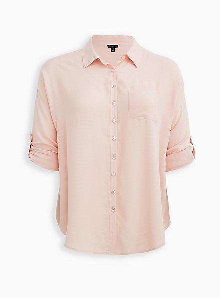 Drop Shoulder Button-Front Top - Light Pink, PALE BLUSH, hi-res