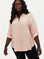 Light Pink Drop Shoulder Shirt , PALE BLUSH, hi-res