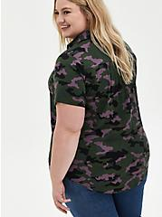 Plus Size Camo Stretch Challis Button Down Shirt, CAMO-GREEN, alternate