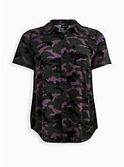 Plus Size Camo Stretch Challis Button Down Shirt, CAMO-GREEN, hi-res