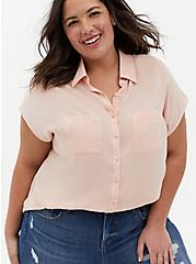 Light Pink Challis Dolman Blouse, PALE BLUSH, hi-res