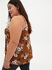 Brown Floral Button Cami , FLORAL - BROWN, alternate