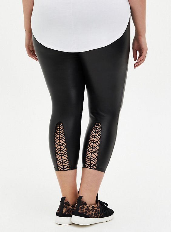 Crop Platinum Legging - Coated Ponte Macrame Back Black , BLACK, hi-res