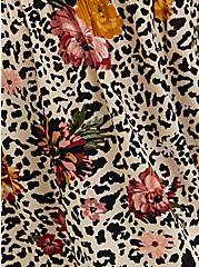 Leopard Floral Crinkled Gauze Cold Shoulder Babydoll Blouse, FLORAL - TAN, alternate