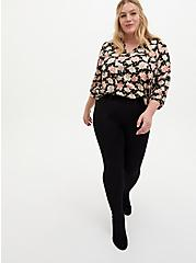 Black Floral Dobby Peasant Blouse, FLORAL - BLACK, alternate