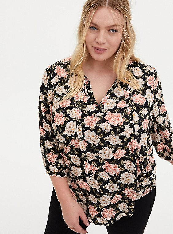 Black Floral Dobby Peasant Blouse, FLORAL - BLACK, hi-res