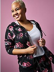 Betsey Johnson Black Floral Terry Hoodie, DEEP BLACK, alternate