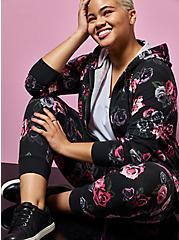 Betsey Johnson Black Floral Terry Hoodie, DEEP BLACK, hi-res