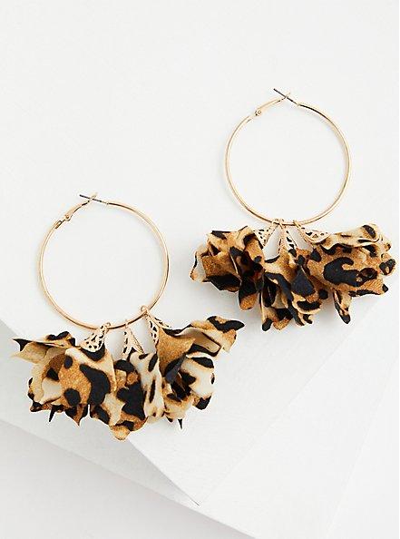 Leopard Floral & Gold-Tone Hoop Earrings, , alternate