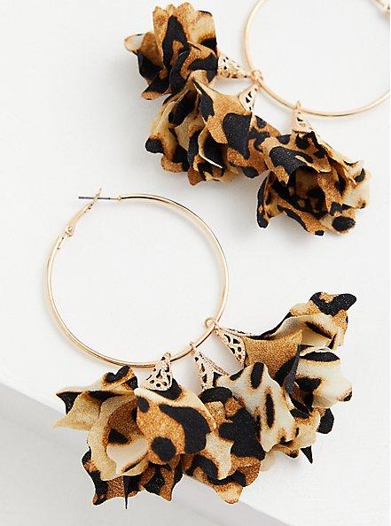 Leopard Floral & Gold-Tone Hoop Earrings, , hi-res