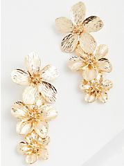 Gold-Tone Floral Statement Earrings, , alternate