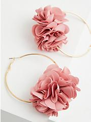 Light Pink Petal Hoop Earrings, , alternate
